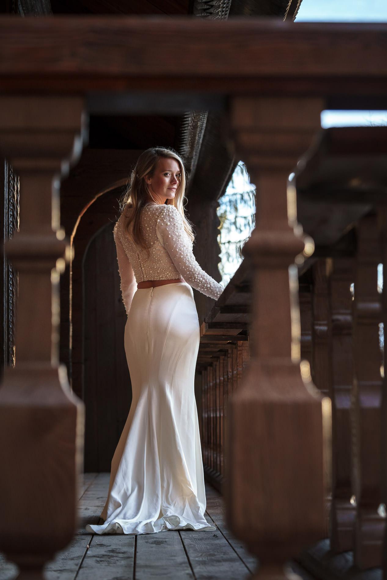 Brautkleid Hochzeit Chalet Schweiz