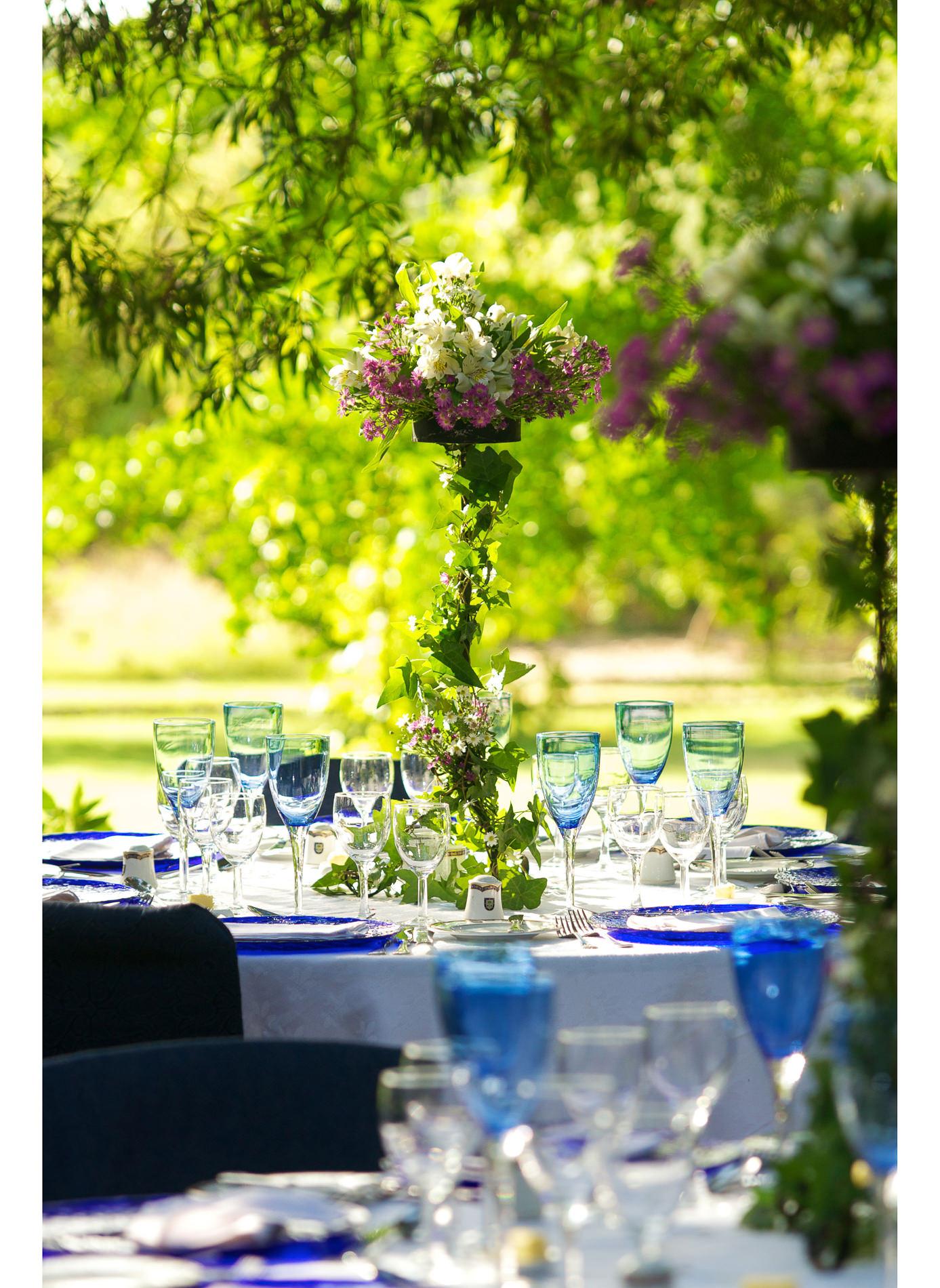 Tischdekoration Hochzeit Garten
