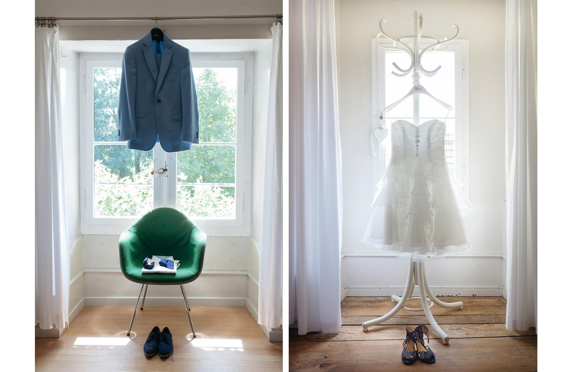 Vorbereitungen Bräutigam Braut Anzug